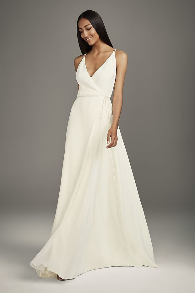 Lace And Tulle A Line Wedding Dress With Crisscross Back A Line Wedding Dress Wedding Dresses Trendy Wedding Dresses