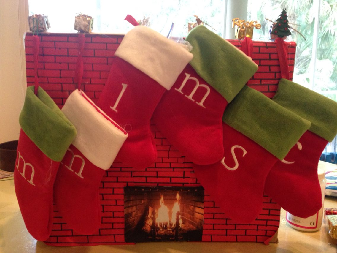Doll fireplace complete with stocking holders | Stocking ...