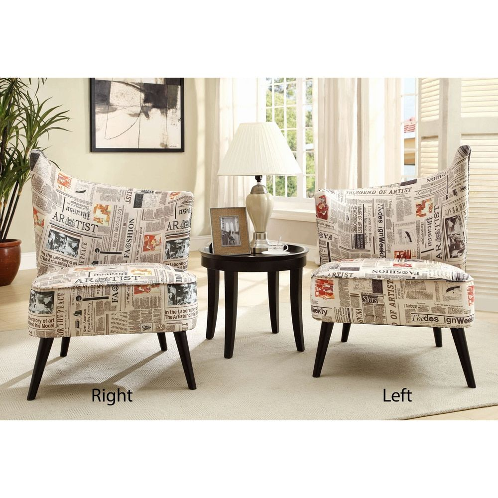 Elegant Accent Chair with Flaired Back in Newsprint Fabric | The ...