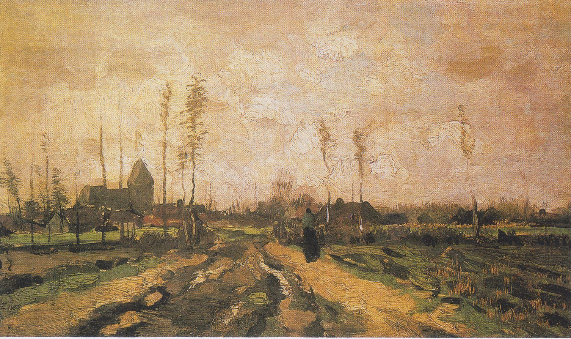 Van Gogh - Landschaft mit Kirche und Häusern, 1885