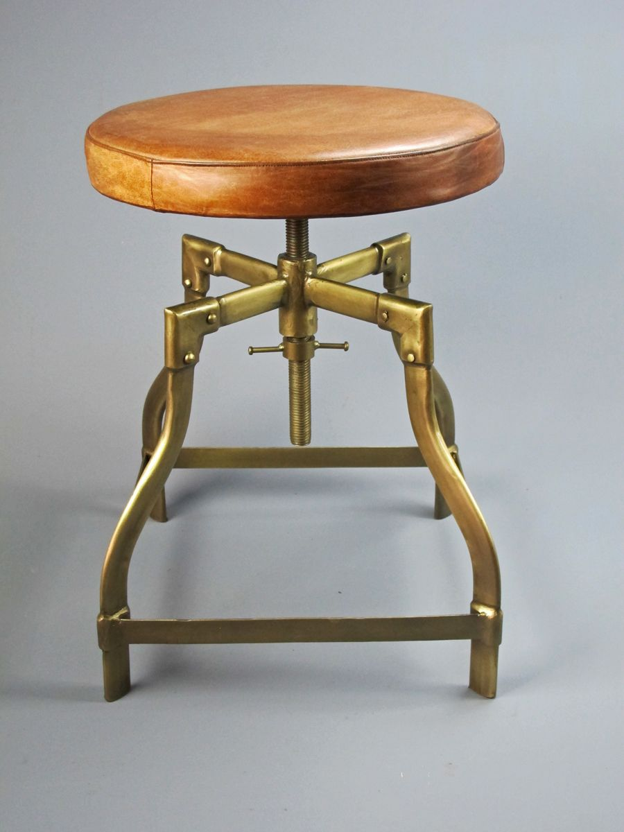 Terrific Leather And Brass Stool Accent Furnature Piano Stool Machost Co Dining Chair Design Ideas Machostcouk