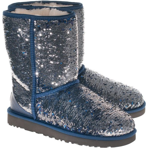 bfc1aae96c24 Ugg Classic Short Sparkles Silver Blue Sequined Shearling Boots ($325) ❤  liked on Polyvore