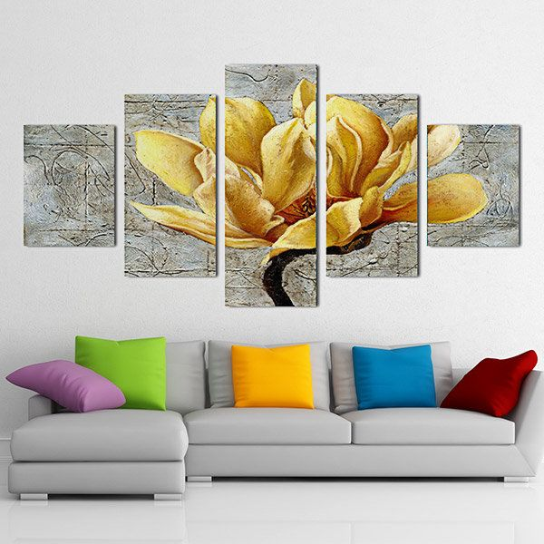 5PCS Unframed Flowers Modern Painting Canvas Wall Art Picture Living