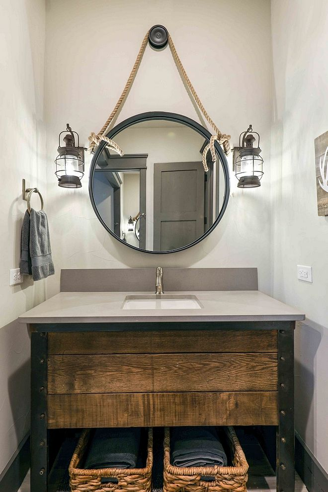 Reclaimed Farmhouse Bathroom Vanity Features An Rustic With Grey Quartz Cou