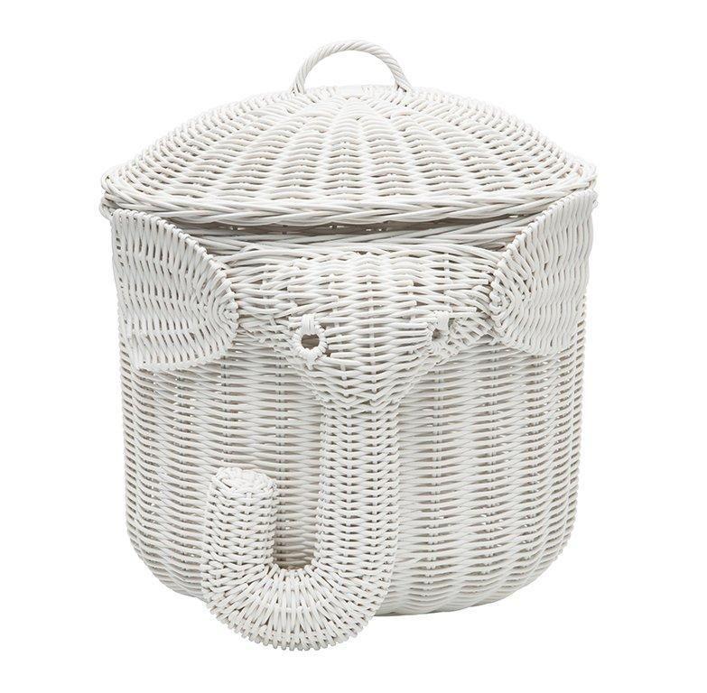 Elephant Wicker Laundry Basket Nursery Toys Home White From Go Get