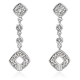 Genuine Rhodium Plated Earrings with Pave Clear Cubic Zirconia Milgrain in a Drop Design Polished into a Lustrous Silvertone Finish