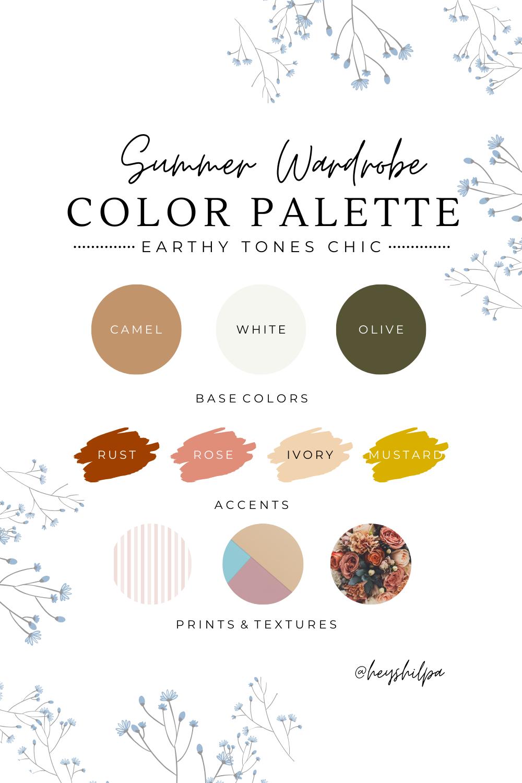 Earthy Tones Summer Wardrobe Color Palette 2020