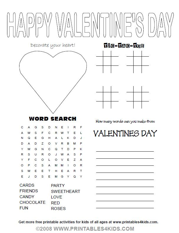 valentines day party activity sheet printables for kids free word search puzzles coloring - Printable Fun Sheets