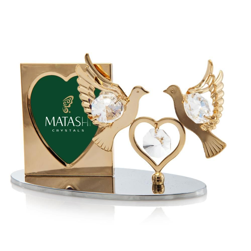 Pictures Frames -24K Gold Plated Beautiful Double Dove with Heart ...