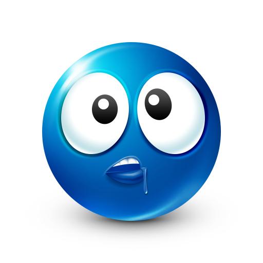 Drool Smiley Face Blue emoji, Smiley, Smiley emoji