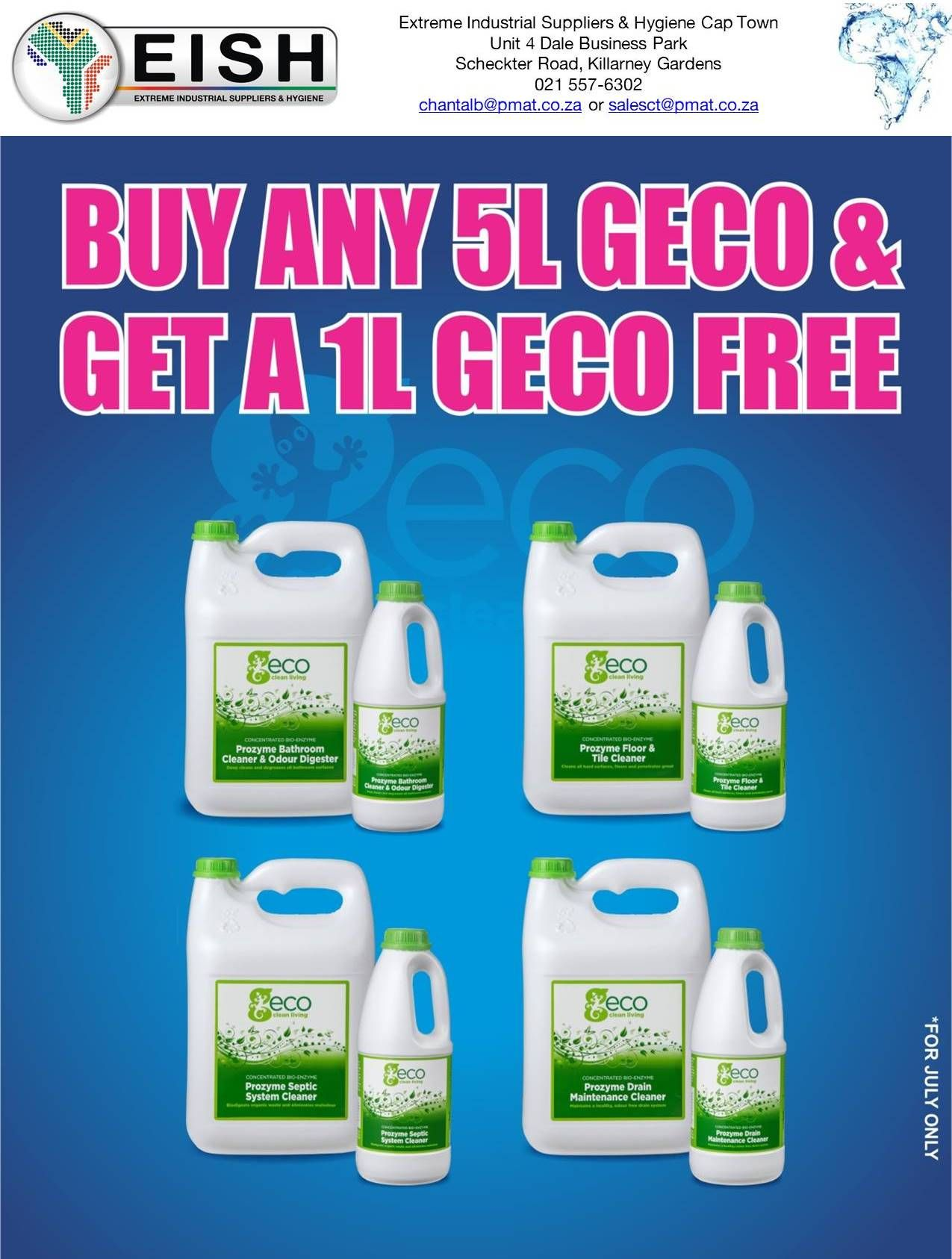 JULY SPECIALS (DUX & GECO) Cape Town branch only 021 557-6302 ...