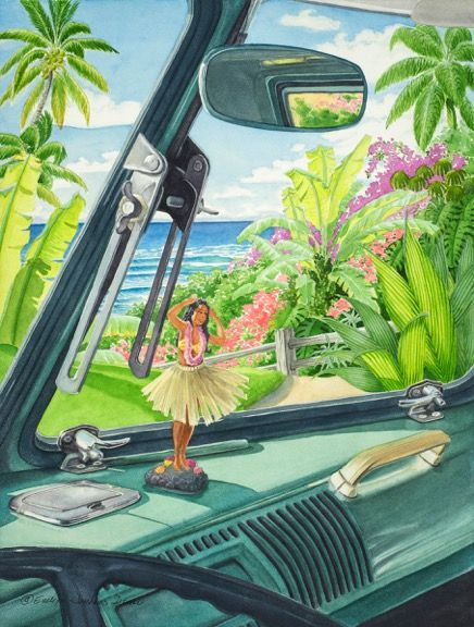 Evelyn Jenkins Drew subjects are tropical and local scenes, tropical foliage and beach themes with woodies, Volkswagens, chrome reflections all evocative of fun times and special places. Learn more about this artist and Pacific Fine Arts at http://pacificfinearts.com #PacificFineArtsFestivals #FineArt #Festivals #Paintings #Photography #Sculpture #Ceramics #Graphics #Jewelry #SiliconValley #BayArea #California #SanFrancisco #NorthernCalifornia