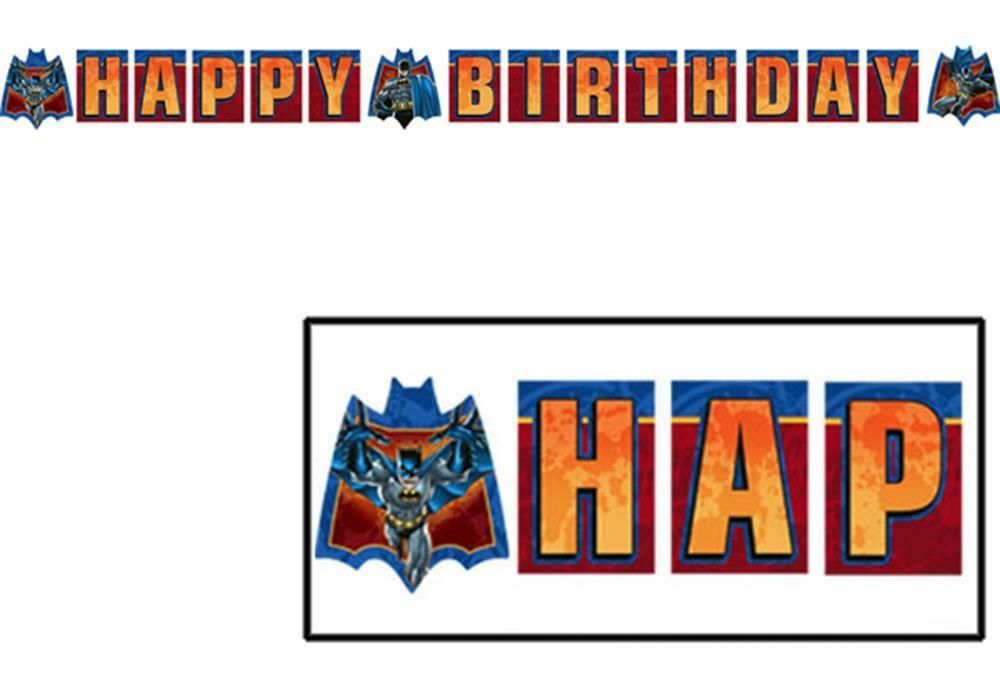 Batman heroes and villains happy birthday plastic banner 1