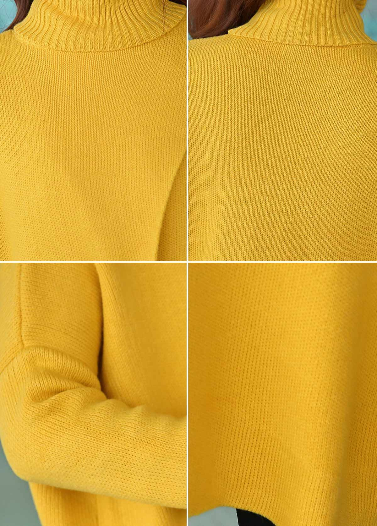 Yellow Front Slit Turtleneck Long Sleeve Sweater | Work clothes ...