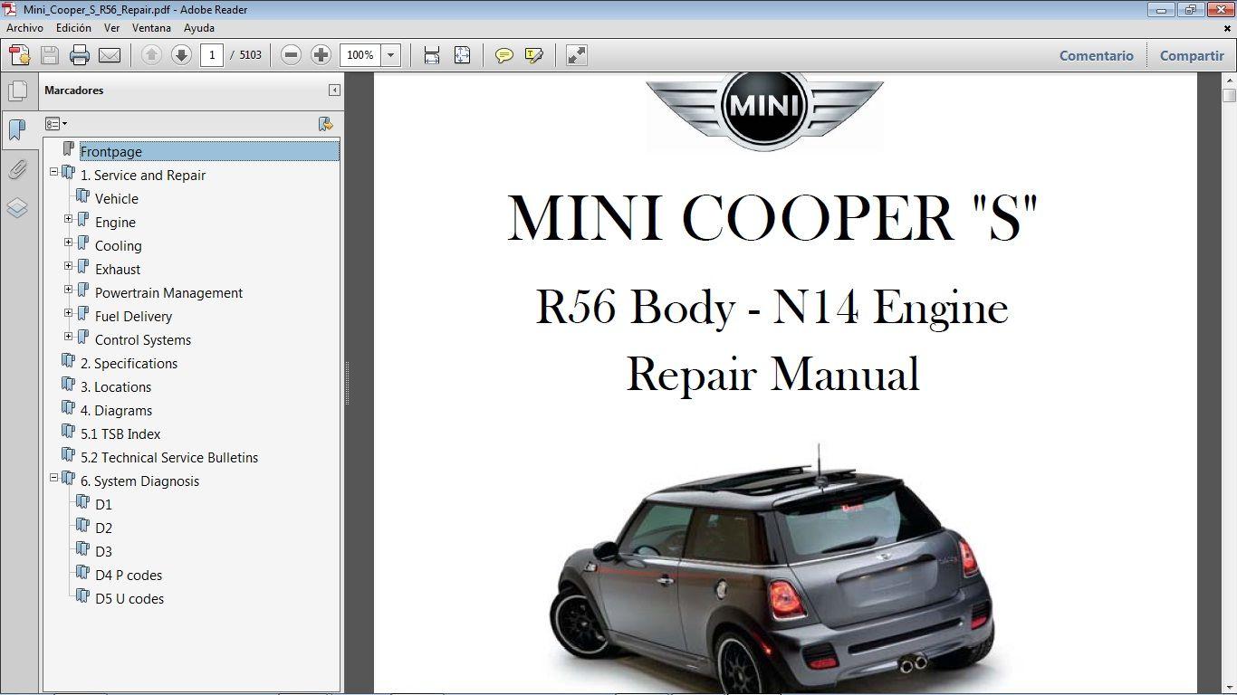 Mini Cooper S R56 2007 2010 Manual De Taller Workshop Manual Mini Cooper S Mini Cooper Mini Cooper R56