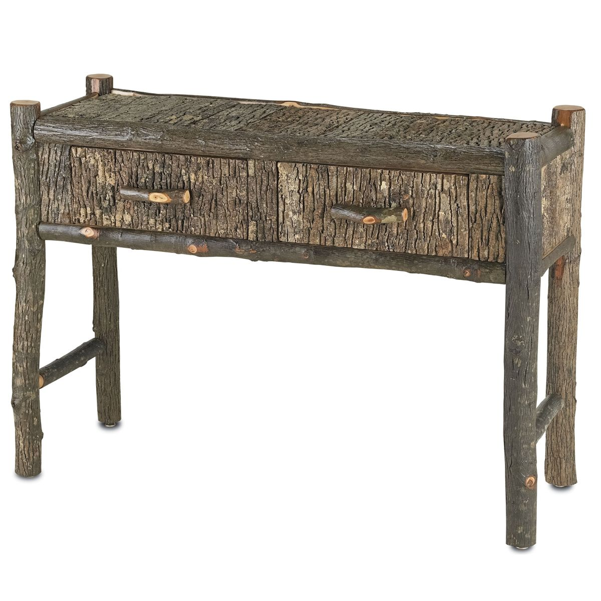 Hickory Wood Console Table Rustic Retreat rusticretreat