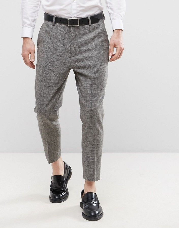 ASOS Tapered Cropped Textured Pant in Charcoal