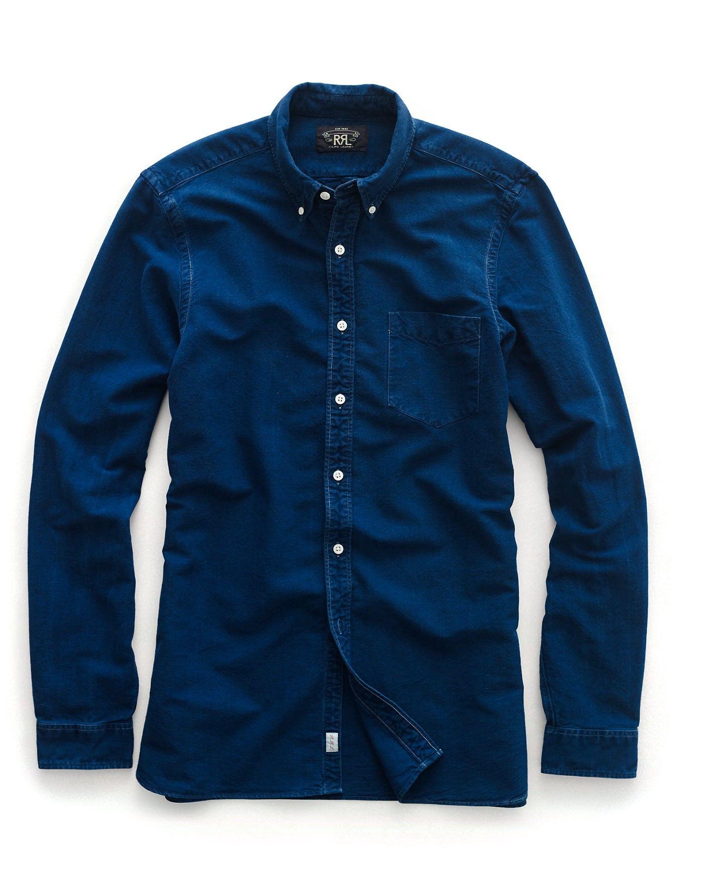 size 40 01a01 78bee RALPH LAUREN RRL Indigo Cotton Oxford Shirt. #ralphlauren ...