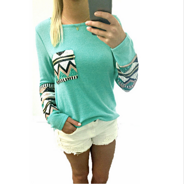 O NECK SEQUIN SLEEVE STITCHING TOPS  $10.00  Want to have that practical smart look? Grab this high quality designed, street fashion Round Neck Slim Long-sleeved T-shirt. It is absolutely true that T-Shirts are forever chic. This nice top is good for workdays and weekends with it's soft comfortable and skin-friendly fabric.
