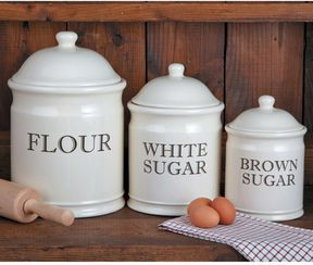 Chefs English Baker S Stoneware Canister Set Shopstyle Storage Containers Stoneware Canister Set Flour Canister Set Canister Sets