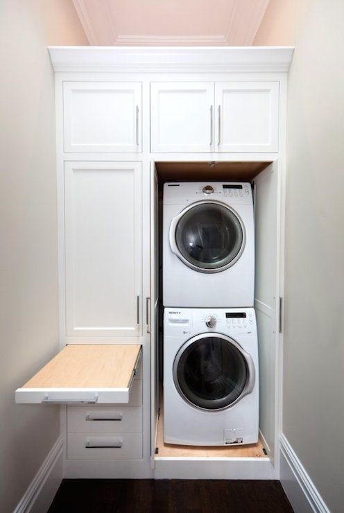Stacked Washer Dryer And Tall Shelving, Narrow Laundry Space | Laundry Room  | Pinterest | Stacked Washer Dryer, Washer And Dryer