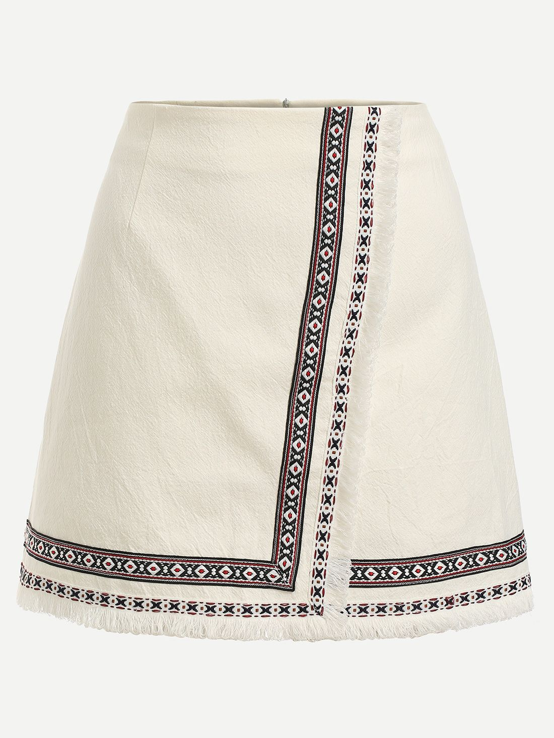 dca022bc2a Falda bordada cinta adornada cruzado-(Sheinside)