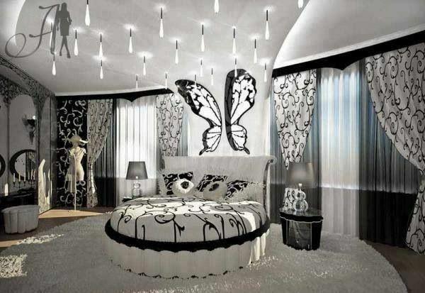 mädchenzimmer gestalten schmetterling phantasievolle gestaltung - jugendzimmer schwarz wei