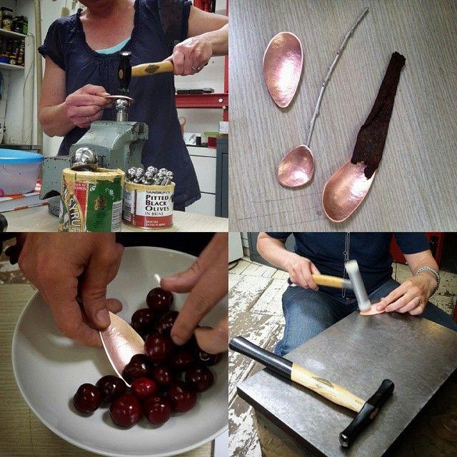 Great spoonmaking workshop yesterday with some fantastic students @wildacre #lizwillis and #emmathorne superb hammering ladies! #needearplugs #dianagreenwood #contemporarysilversmithing