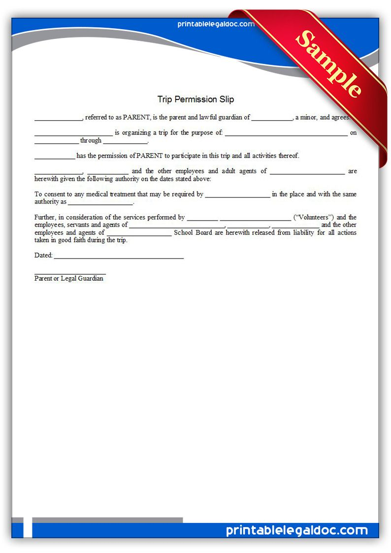 printable trip permission slip template