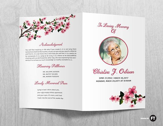 Funeral Program Template  Printable Funeral Program  Memorial