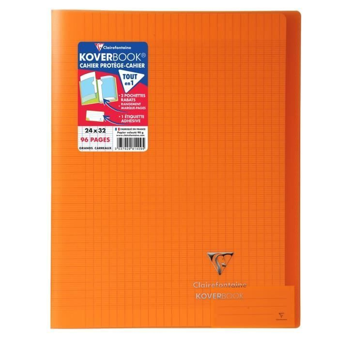CLAIREFONTAINE – Cahier piqûre KOVERBOOK – 24 x 32 – 96 pages Seyès – Couverture Polypro translucide – Orange –  H