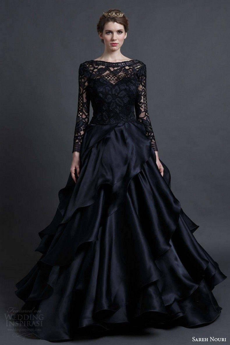 4bc6eb74d4ef 25 Glamorous Black Wedding Dresses  Sareh Nouri spring 2016 bridal mona lisa  black wedding dress ball gown long sleeves