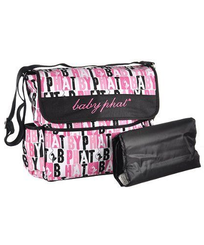 Baby Phat Stencil Print Messenger Diaper Bag Pink One Size By