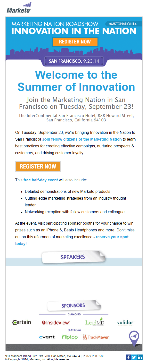 Marketo Email Invitation To Marketing Nation Roadshow  BB Email