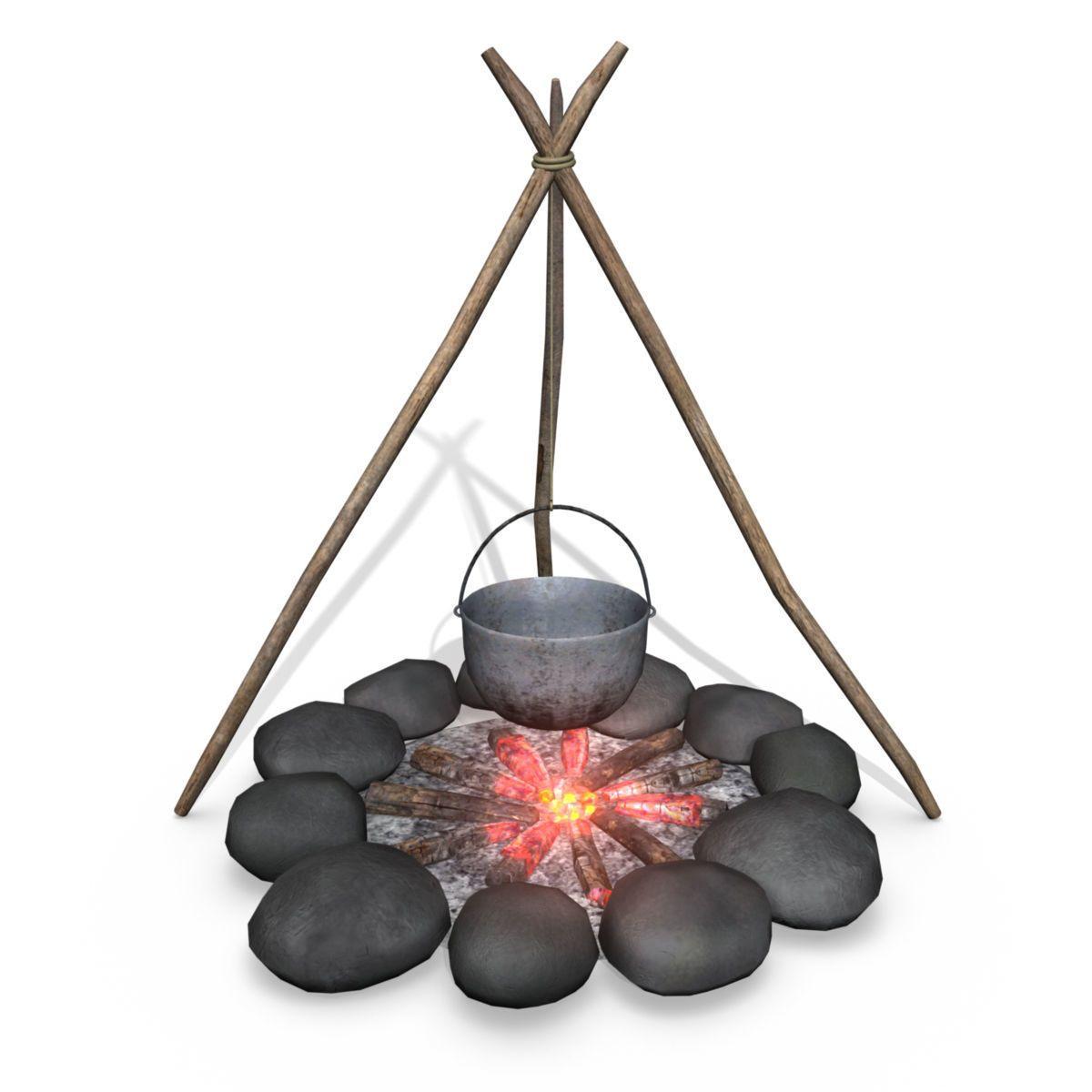 campfire 3d model lowpoly obj fbx ma mb mtl 2 Campfire