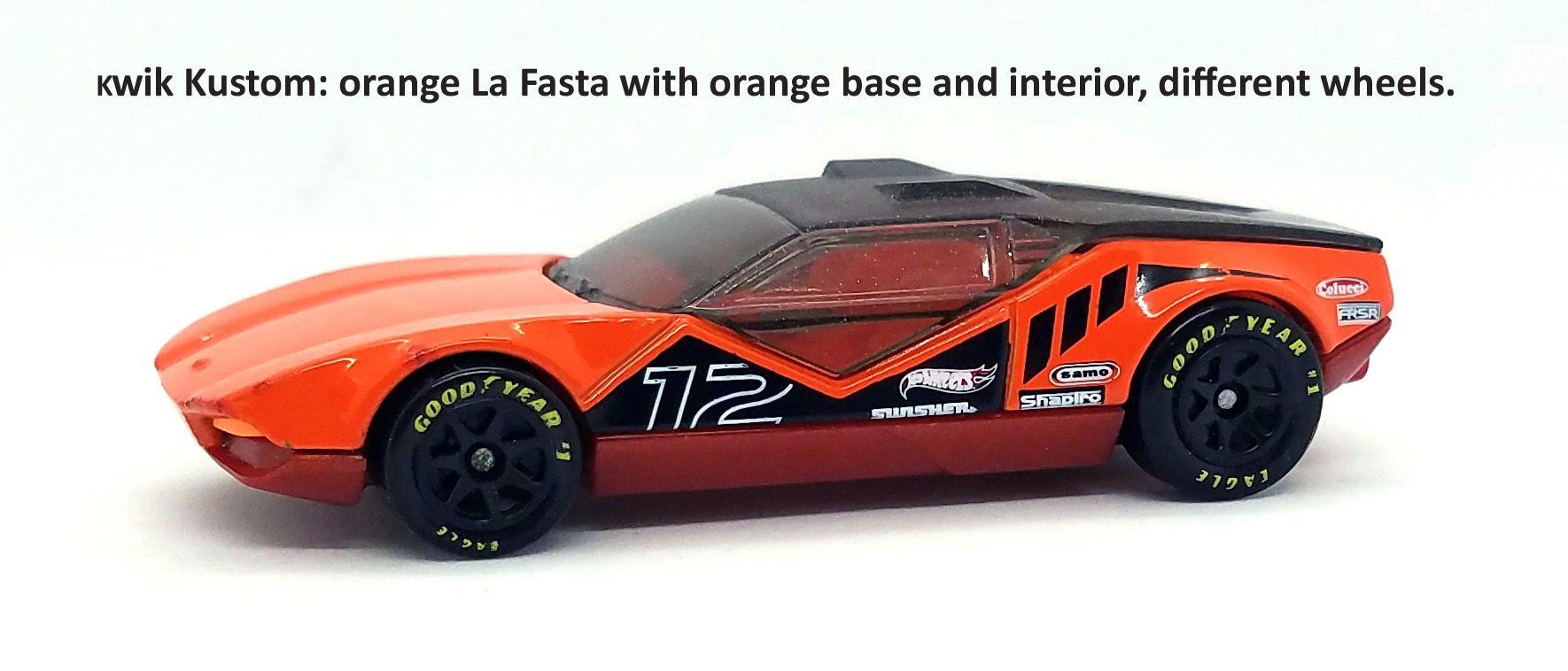 Orange La Fasta Kwik Kustom Hot Wheels Toy Car Pantera [ 758 x 1770 Pixel ]