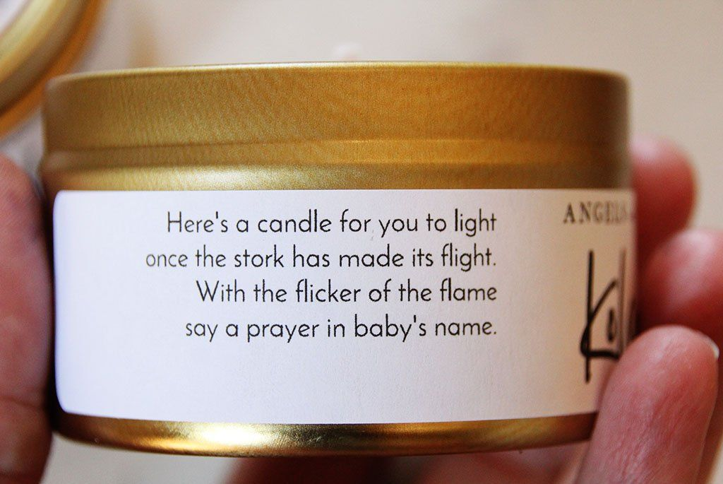Baby shower candle personalized candle favor angels