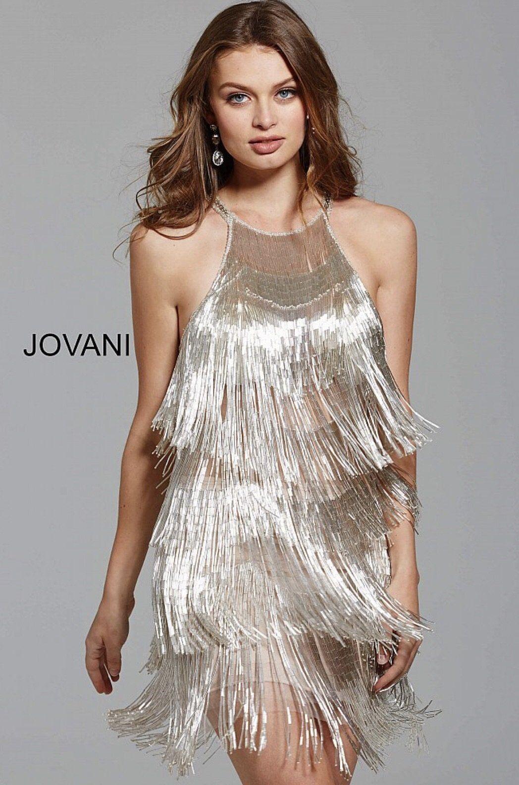 Silver high neck sleeveless open back fringe short dress my