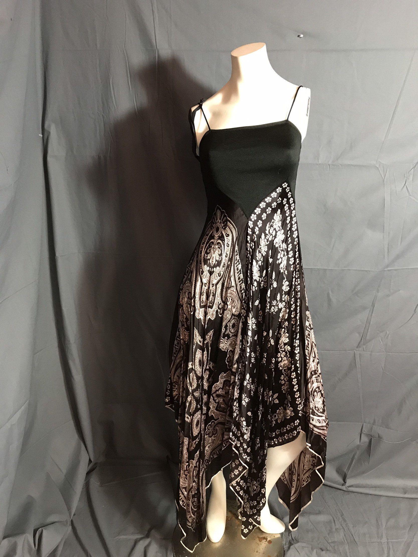 Schwarz und Altweiß 70er Jahre Paisley Schal Kleid 7 (mit ...