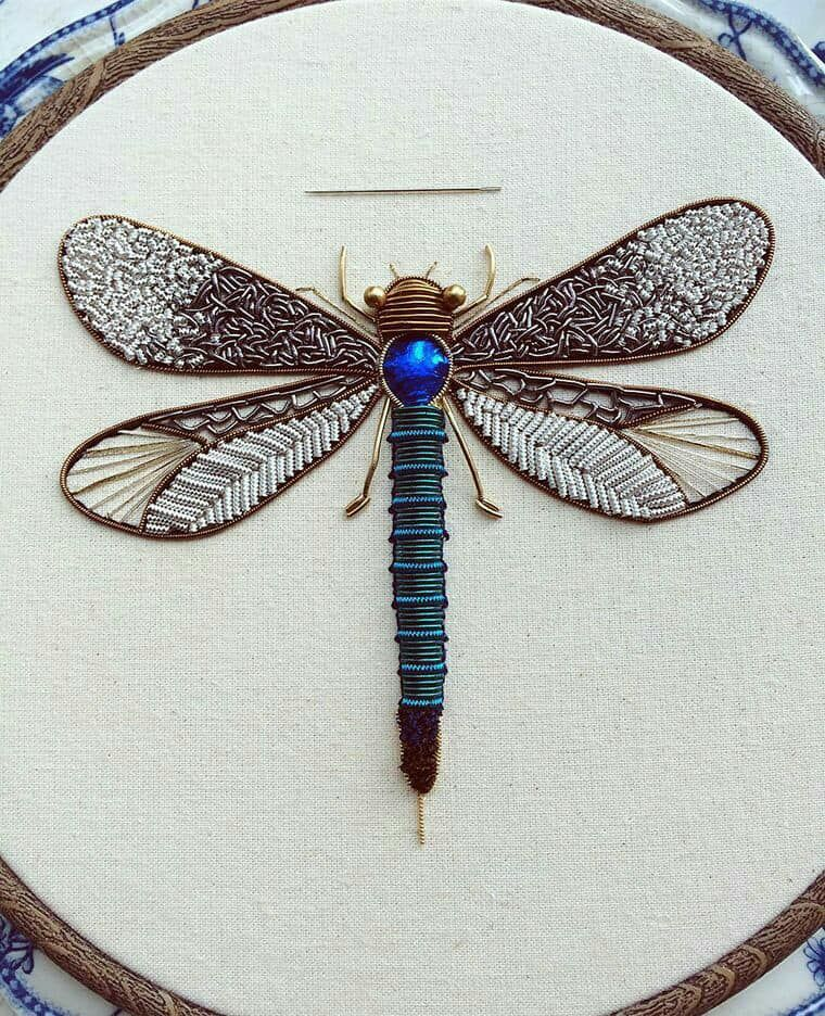 Stumpwork Dragonfly Embroidery Embroidery Pinterest