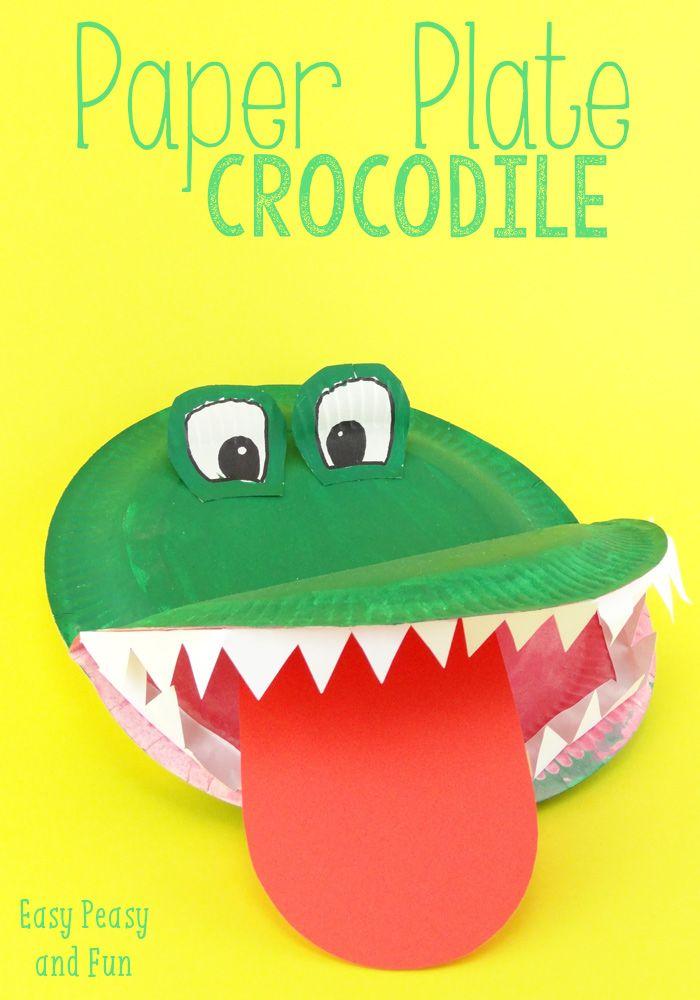 Crocodile paper plate craft easy peasy and fun