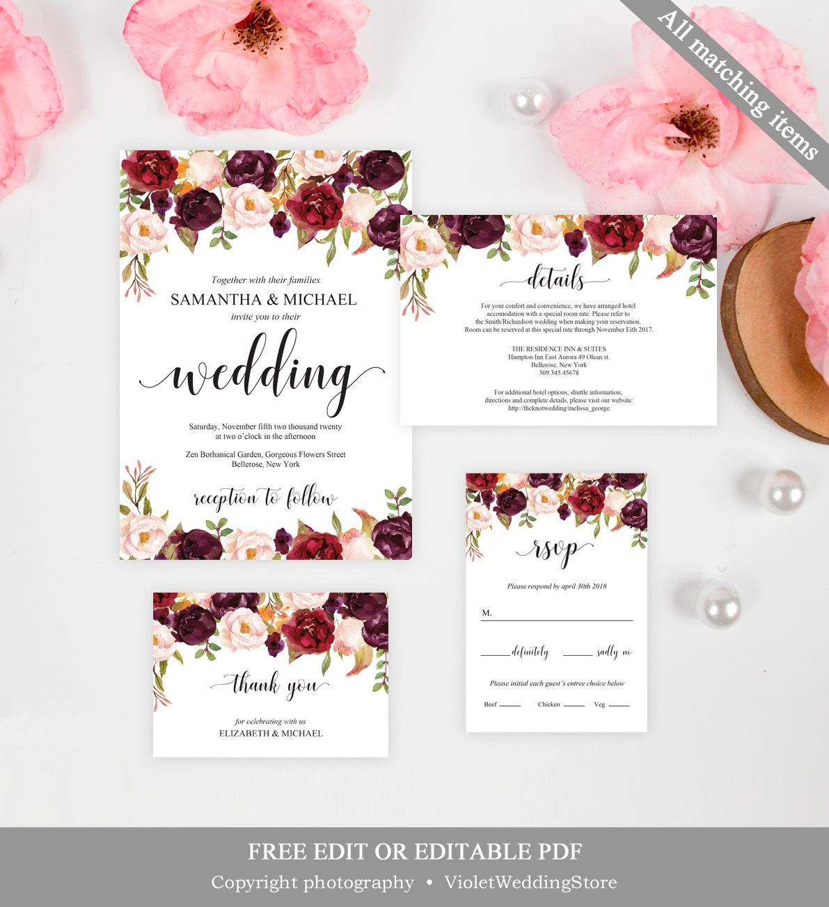 Marsala Wedding Invitation Template. Printable Wedding Invitation