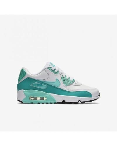 NIKE AIR MAX 90 LTR GS LEATHER 833376 106 WHITE HYPER TURQUOISE