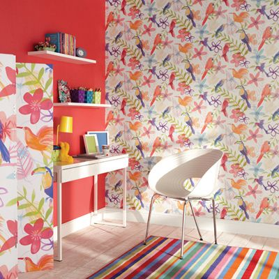 Brighten up your interior with this bright and funky for Bright bedroom wallpaper