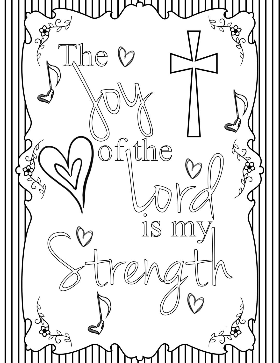 Joy Of The Lord Adult Coloring Page By Fidbycourtney On Etsy