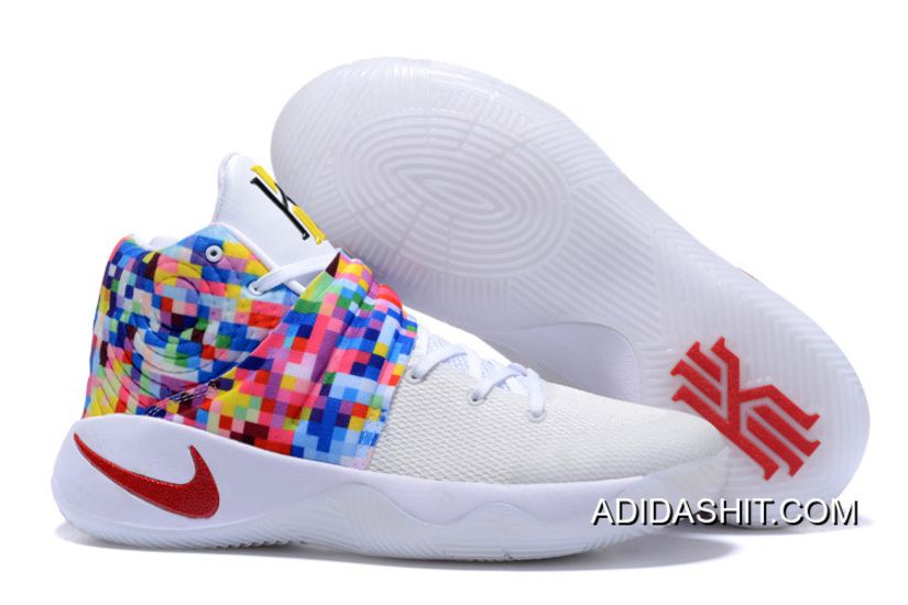 "bbdf02db974e 2019 的 Outlet Girls Nike Kyrie 2 ""Effect"" White-Red Multi-Color ..."
