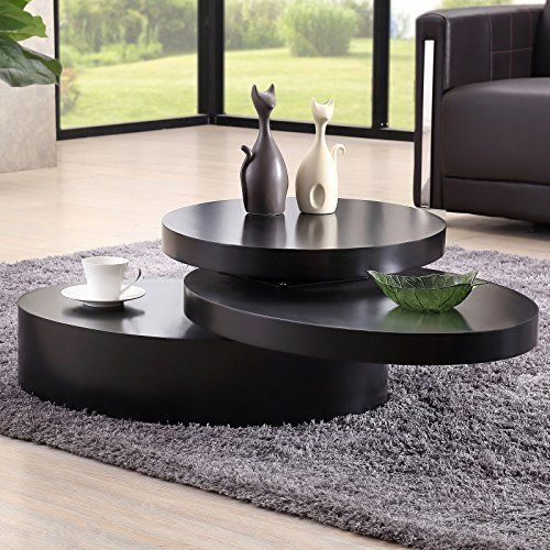 Uenjoy Rotating Coffee Table Living Room Furniture Round Black