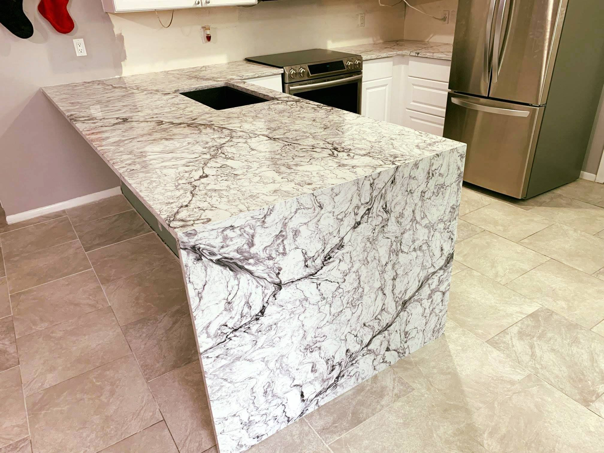 Magnificent Kitchen Island Countertop Made By Iconic Pompeii