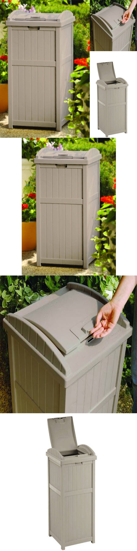 Trash Cans And Wastebaskets 20608: Outdoor Patio Trash Can Hideaway Garbage  Garden Waste Bin Garage