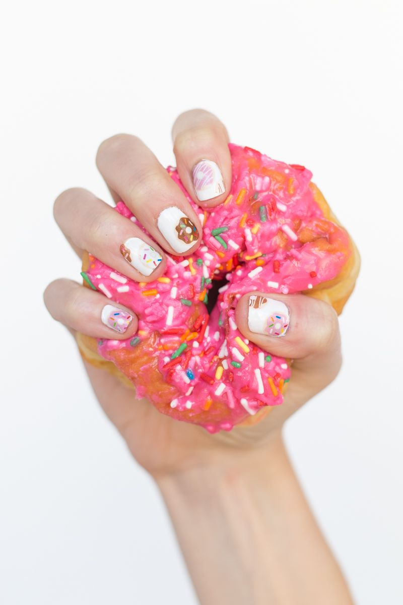 DIY Donut Nail Decals